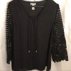 Catherines Dressy Black Tunic.  Size OX